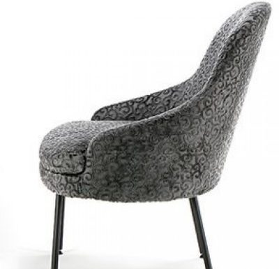 upholstered lounge or club chair with a curved back design 4
