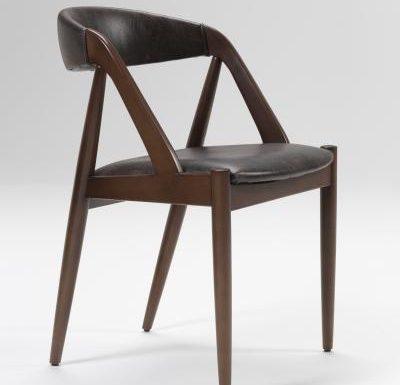 Beech leg frame side chair side view