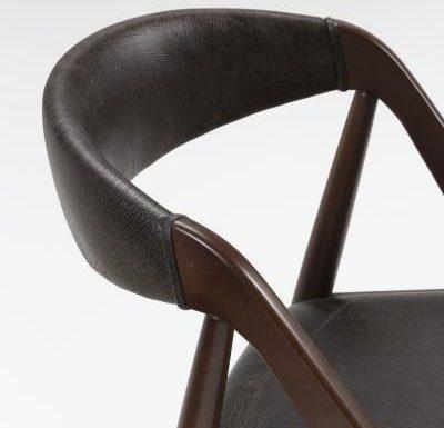 Beech leg frame side chair close up back