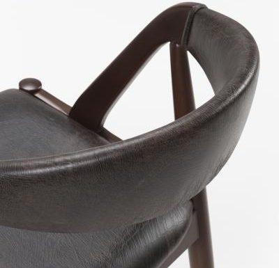 Beech leg frame side chair close up rear view