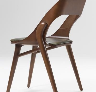beech leg frame side chair dark side view
