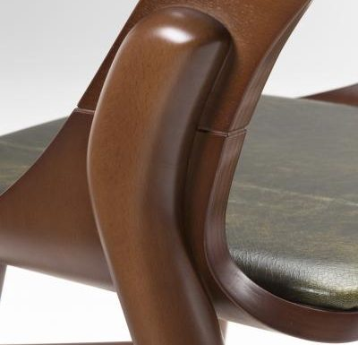 beech leg frame side chair dark close up
