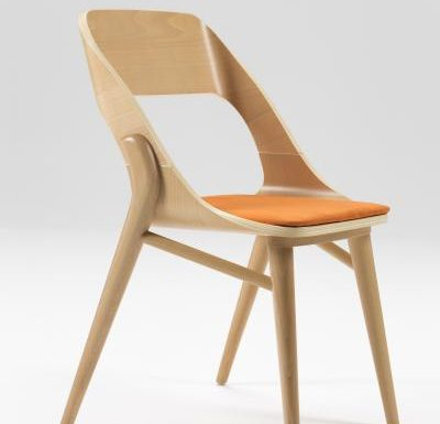 beech leg frame side chair light front view
