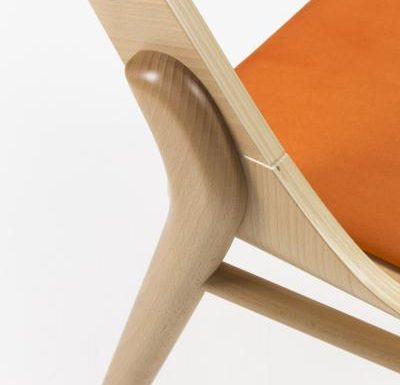 beech leg frame side chair light close up
