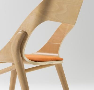 beech leg frame side chair close up rear view