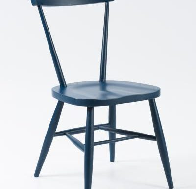 Classic side chair with clean simplistic lines blue