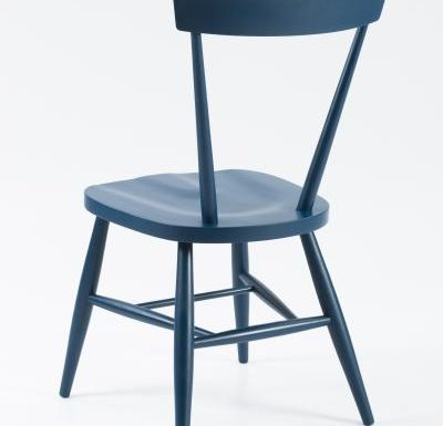 Classic side chair with clean simplistic lines blue rear view