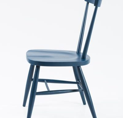 Classic side chair with clean simplistic lines blue side view