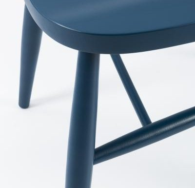 Classic side chair with clean simplistic lines blue close up seat