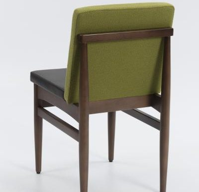 mid century style upholstered sidechair rear view