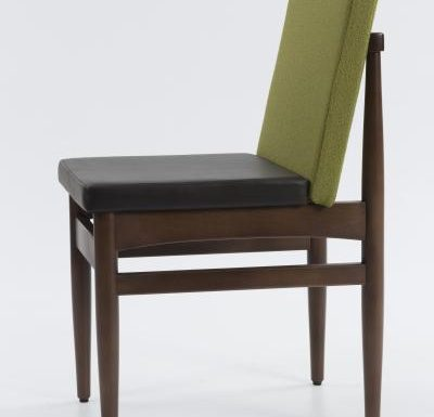 mid century style upholstered sidechair side view