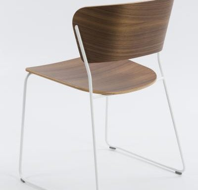 A classy sled base chair with bent ply formed shell back and seat - rear view