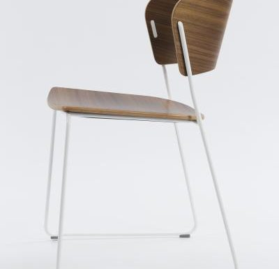 A classy sled base chair with bent ply formed shell back and seat - side view