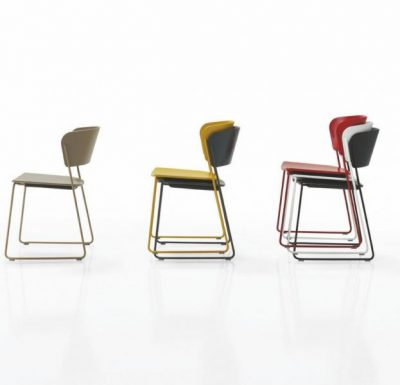 A classy sled base chair with bent ply formed shell back and seat all colours side view
