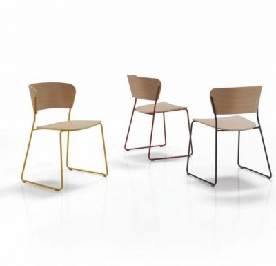 A classy sled base chair with bent ply formed shell back and seat all colours