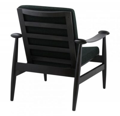 Beech hardwood retro side chair with black upholstery