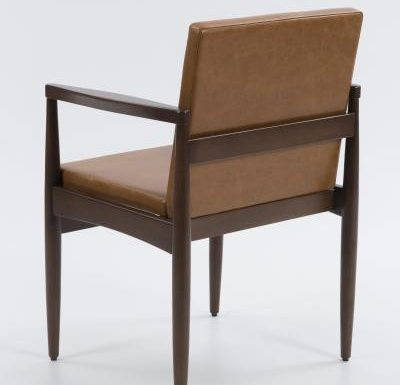 mid century design upholstered armchair with a wooden frame - rear view