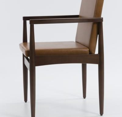 mid century design upholstered armchair with a wooden frame - side view