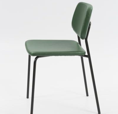 Contemporary metal framed dining chair with upholstered seat and back side view