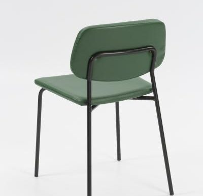 Contemporary metal framed dining chair with upholstered seat and back rear view