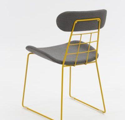 eyecatching wireframe design side chair black rear view