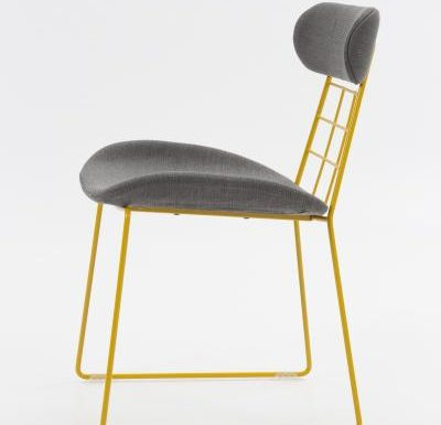 eyecatching wireframe design side chair black side view