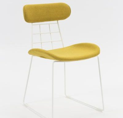 eyecatching wireframe design side chair yellow