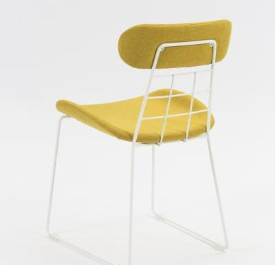 eyecatching wireframe design side chair yellow rear view