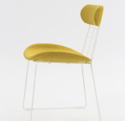 eyecatching wireframe design side chair yellow side view