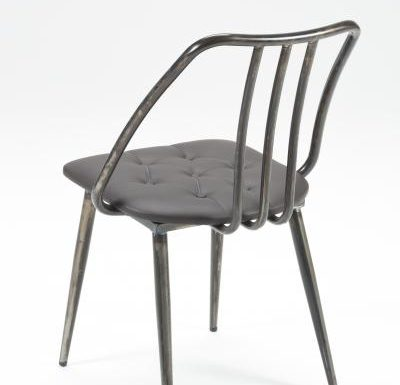 Industrial side chair with upholstered seat pad rear view