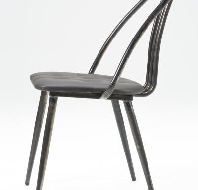 Industrial side chair with upholstered seat pad side view