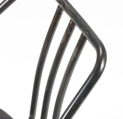Industrial side chair with upholstered seat pad close up frame