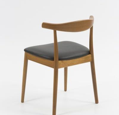 Midcentury wooden dining chair rear view