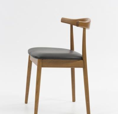 Midcentury wooden dining chair side view