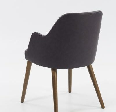 mid-century design upholstered sidechair with wooden legs rear view