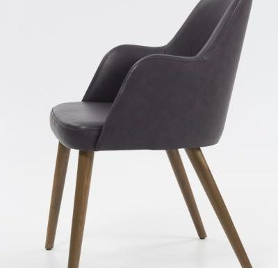 mid-century design upholstered sidechair with wooden legs side view