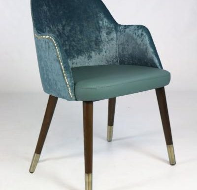mid-century design upholstered sidechair with wooden legs green