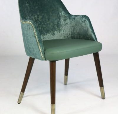 mid-century design upholstered sidechair with wooden legs green front view