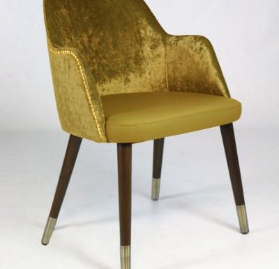 mid-century design upholstered sidechair with wooden legs yellow