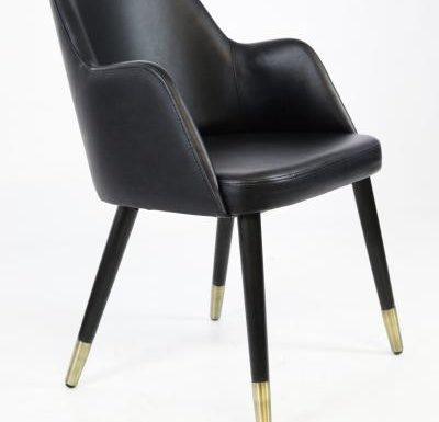 mid-century design upholstered sidechair with wooden legs black side view