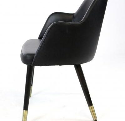 black side view mid-century design upholstered sidechair with wooden legs