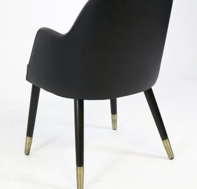 mid-century design upholstered sidechair with wooden legs black rear view