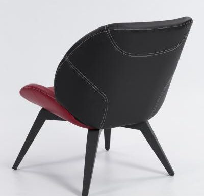 side chair with wooden legs red and black rear view