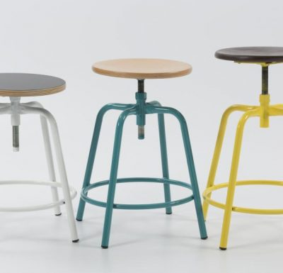 Tomm Stool white blue and yellow
