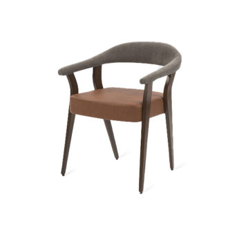 Classic armchair with upholstered seat and arms